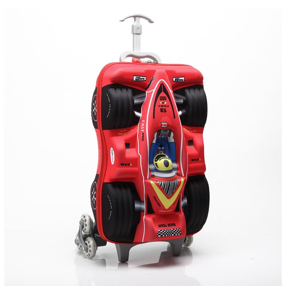 Hot 3D Cartoon EVA Formula Car 18inch Bags Boys Trolley School Bags Classic Travel Luggage Suitcase On Wheels Kids Rolling Bags(China (Mainland))