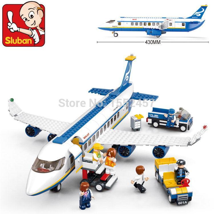 Sluban Air bus Plane aviation Building Blocks Transport enlighten aircraft vehicle Bricks Toys Gift Compatible with Lego(China (Mainland))
