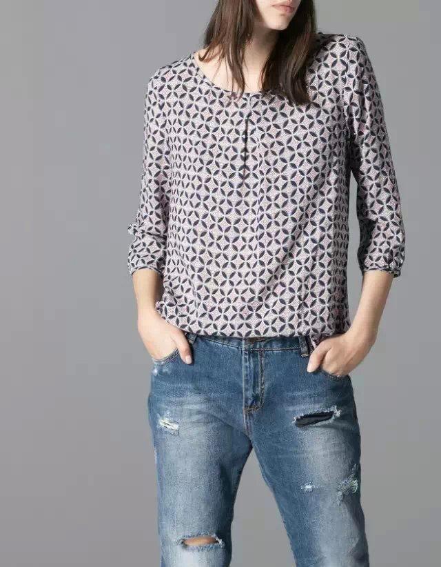 XN04 Fashion 2015 women casual Circle print blouse shirt vintage three quarter sleeve o neck Elegant brand tops XL size(China (Mainland))