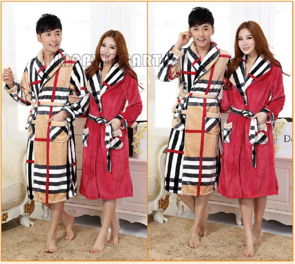 Свободного покроя мужчины зима полоска пара влюблённые длинный рукав пижамы утолщаются халат женщины мужчины пижама DYF404