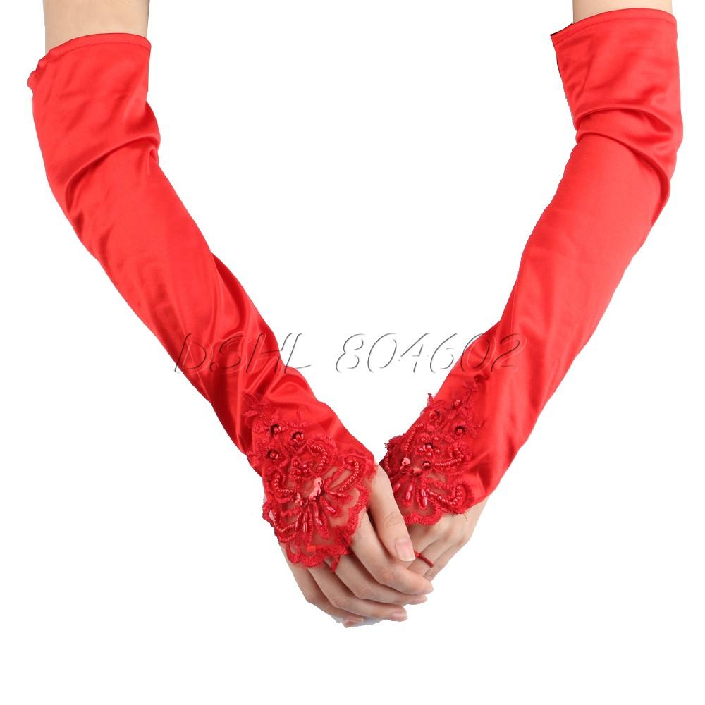 Fingerless Long Bridal Wedding Beaded Dress Gloves Spandex Silk Satin Lace Red(China (Mainland))