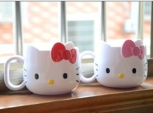 2015 New Arrival Hello Kitty Cups Mug Cute Children's Gargle cup Toothbrush Cup Two Colors Red Pink Free Shipping