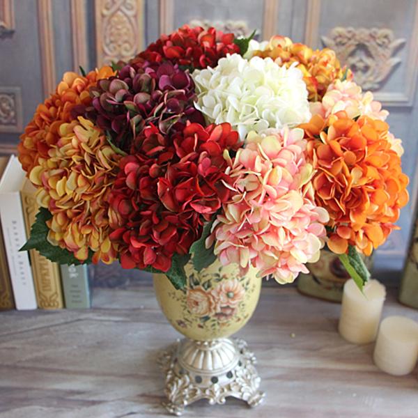 Wine Red Rose Autumn Vintage Artificial Silk Peony Flower Bouquet Hydrangea Wedding Hold Flowers Decor(China (Mainland))