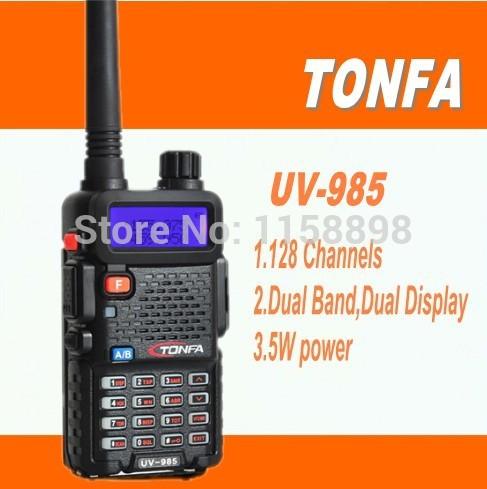 DHL freeshipping+TONFA UV-985 radio walkie talkie UV985 ,fm radio station,vhf uhf Dual Band,compared alan midland baofeng uv5r(China (Mainland))