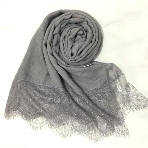 2015 New fashion women large silk scarf with lace solid color plain cotton scarves winter shawl wraps lencos de seda(China (Mainland))