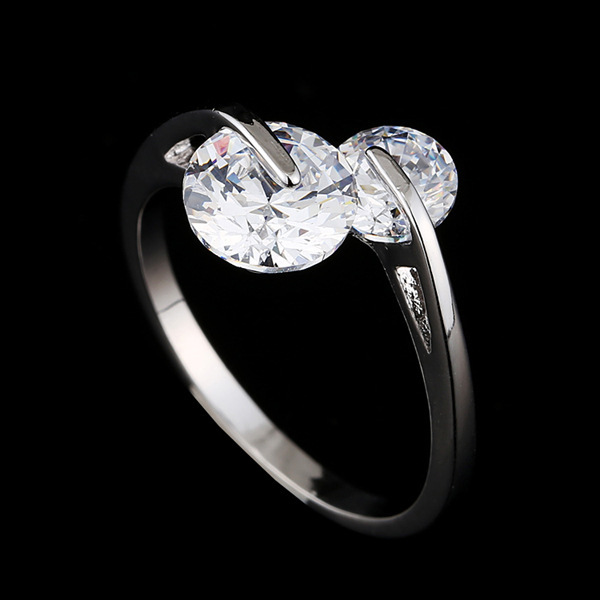 Brand Design Austrian Crystal Zircon Ring Vintage Silver Plated Double CZ Diamond Rings Geometry Round Jewelry For Women R70004(China (Mainland))