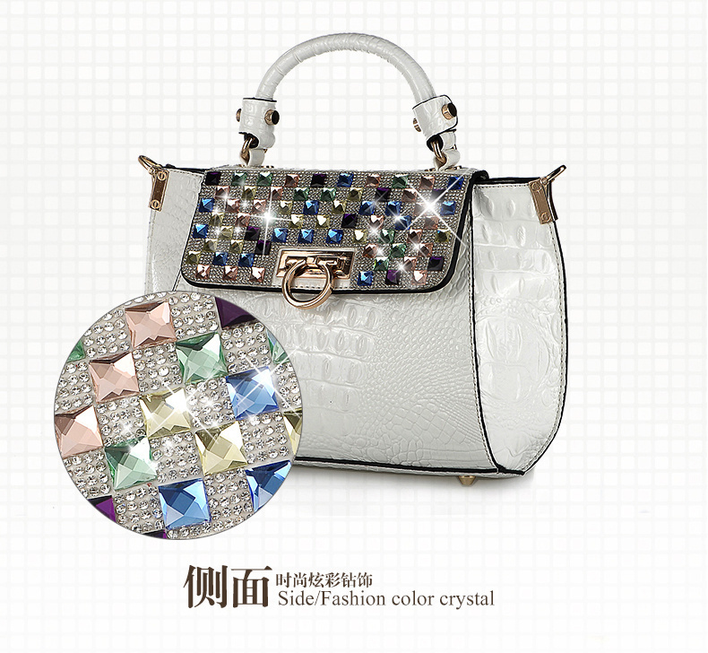 South Korea SODEAR2014 new winter crocodile grain colorful packages female temperament handbag(China (Mainland))