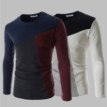 2015 spring new men's long-sleeved sweater three color combinations, men outdoors Pullover M ~ XXL(China (Mainland))