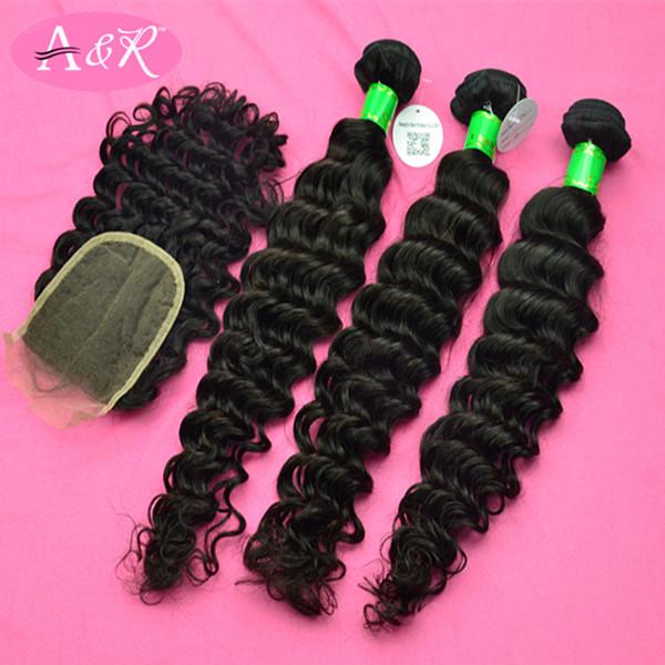 A&R Loop Micro Ring Hair Extension 5A Grade Indian Virgin Hair 3Pcs Natural Color Deep Wave With 1pcs Closure Free Shipping(China (Mainland))