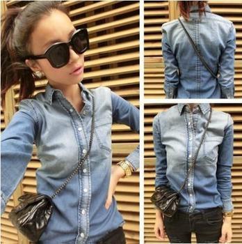 2015 новое поступление осень весна женские джинсы блузки женский градиент синий с длинным рукавом джинсовые рубашки для женщины дамы J2015