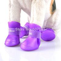 New Cute Dog Boots Waterproof Protective Rubber Silicone Pet Rain Shoes Boots botas Candy Colors S M L XL XXL 4pcs/set