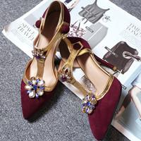 2015 womens genuine leather high heels royal T strap restro rhinestone pumps lady cut out sandals elegant footwear