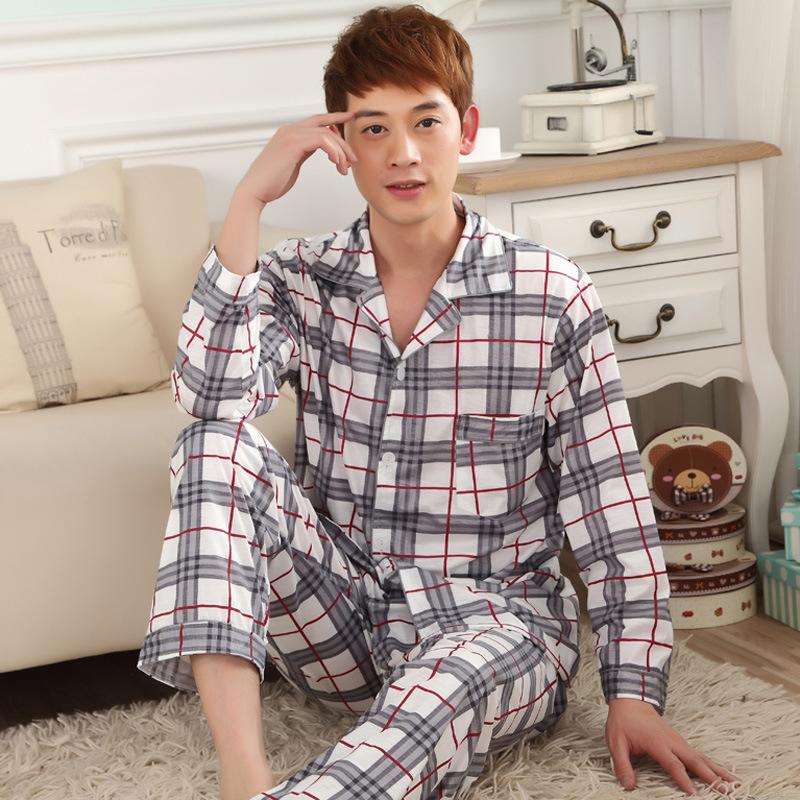 2015 new Cotton Home Dress for men Pajamas Casual plaid Men Pajama Sets Plus Size 3XL Sleepwear pyjama homme pajamas for men(China (Mainland))