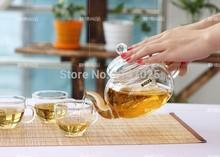 2015 new heat reistant glass teapot 600ml 6 double wall glass tea cups 7pcs set coffee