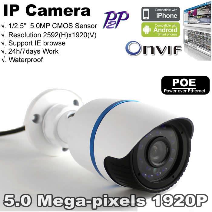 "security camera ONVIF1920P waterproof IR 5.0 MP Camera 1/2.5"" CMOS Sensor Full HD motion detect H.264 PoE(China (Mainland))"