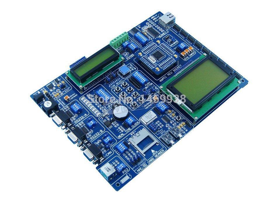 PIC Board dsPIC30F6014A PIC24FJ96GA008 dsPIC 16-bit PIC Microcontroller Development Board Kit Tool +LCD1602+LCD12864(China (Mainland))