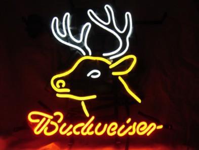 "Dr. Neon Budweiser Deer Beer Bar Custom Neon Signs Pub art Light lamp 19""X15""(China (Mainland))"
