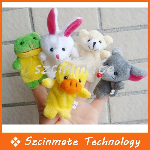 Finger Puppets Baby Plush Toy Talking Props 10 Animal Group 10pcs/set 100set/lot Wholesale(China (Mainland))