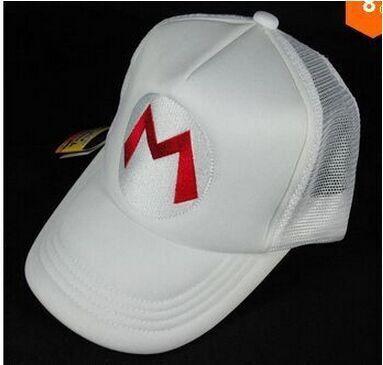 Super Mario Bros White Hat for children Baseball Caps Mario Luigi Wario Waluigi of 5 Styles(China (Mainland))