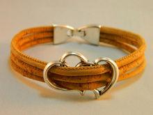 Portugal Pulseras Cork jewelry bracelets,Cork bracelets Three cork rope, alloy love accessories, handmade, natural bracelets