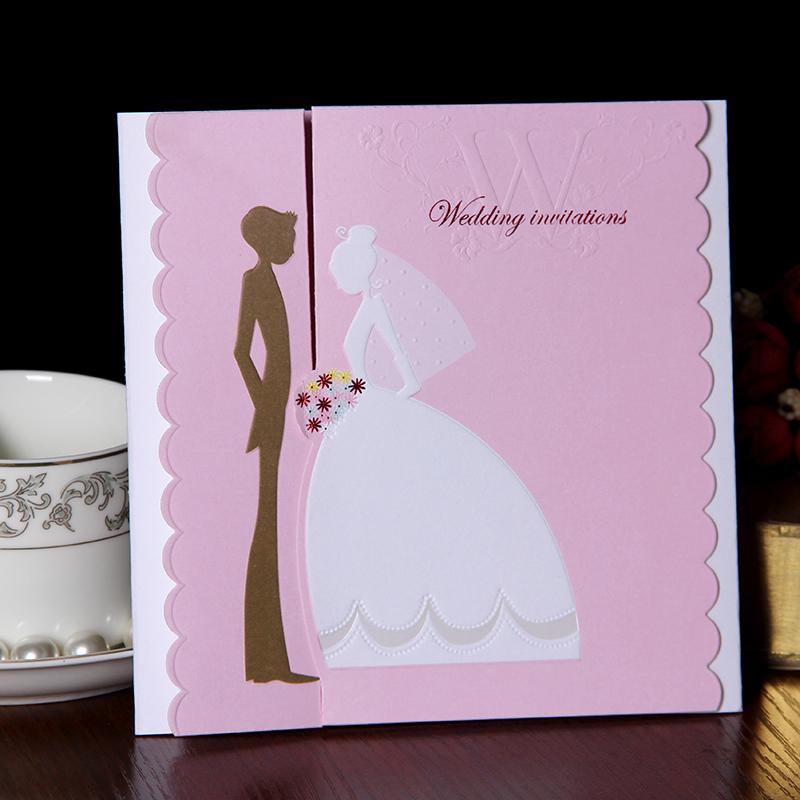 Creativity 2015 pink wedding invitation personalized custom wedding invitation printed photos of Korean-dimensional wedding card(China (Mainland))