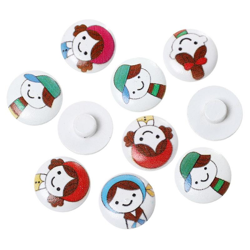 2015 Hot 50PCs Random Mixed Wood Shank Buttons Sewing Scrapbooking Cartoon Girls Pattern 20mm(China (Mainland))