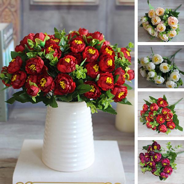 Artificial Red Silk 15 Flower Heads Pearl Tea Rose Magnolia Wedding Garden Peony Bouquet Room Decor(China (Mainland))