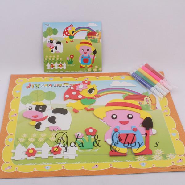 Free Shipping Eva 3D DIY Art Painting Card , Handmade Jigsaw Puzzle Stickers, Kids Educational Toys, 20 Designs(China (Mainland))