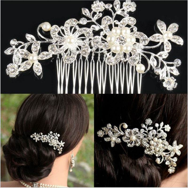 Bridal Wedding Flower Crystal Rhinestone Hair Clip Comb Pin Diamante Silver P4PM