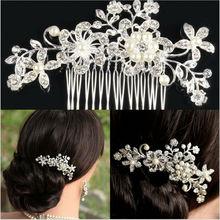 Bridal Wedding Flower Crystal Rhinestone Hair Clip Comb Pin Diamante Silver   P4PM