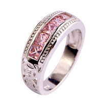 Free Shipping Pink Topaz New Popular 925 Silver Ring Jewelry For Women Gift Size 6 7 8 9 10 Engagement Wedding Rings Wholesale