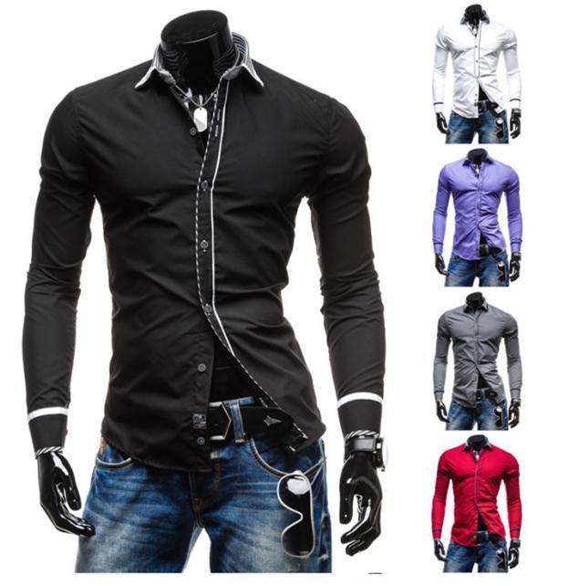 Мужская повседневная рубашка 2015 Slim Fit M-L-XL-XXL 2015 slim m l xl xxl
