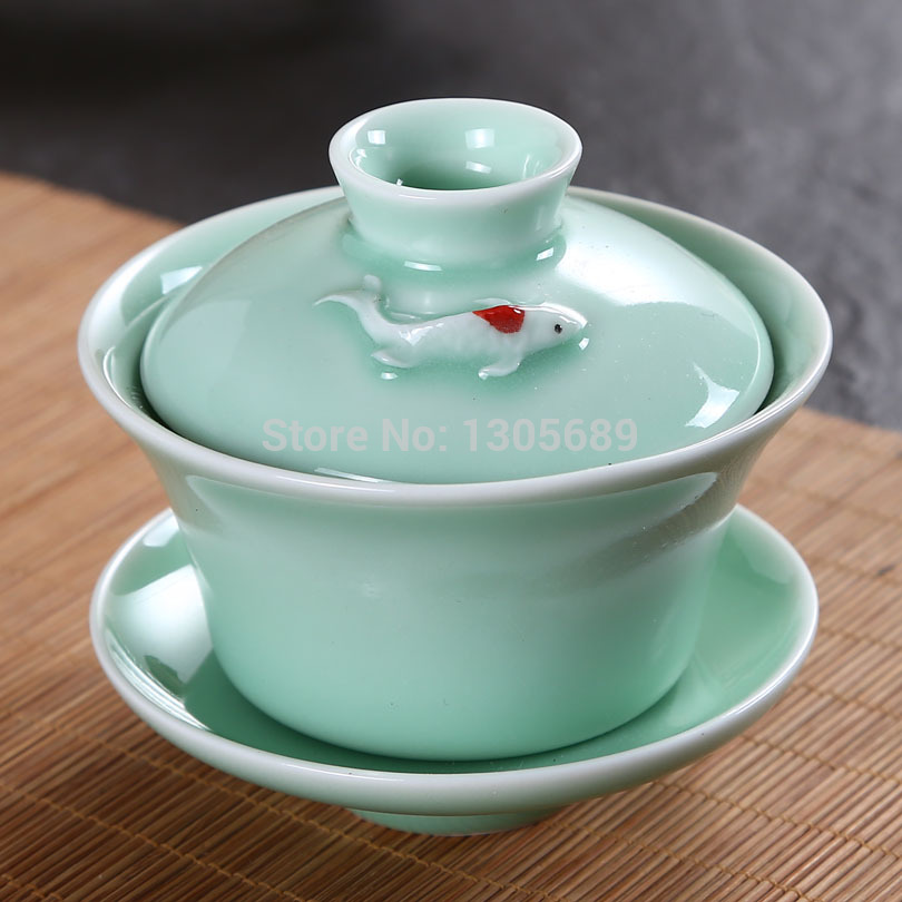 100ml Longquan kiln celadon carousingly covered teacup tea set celadon red carp ceramic tureen kung fu