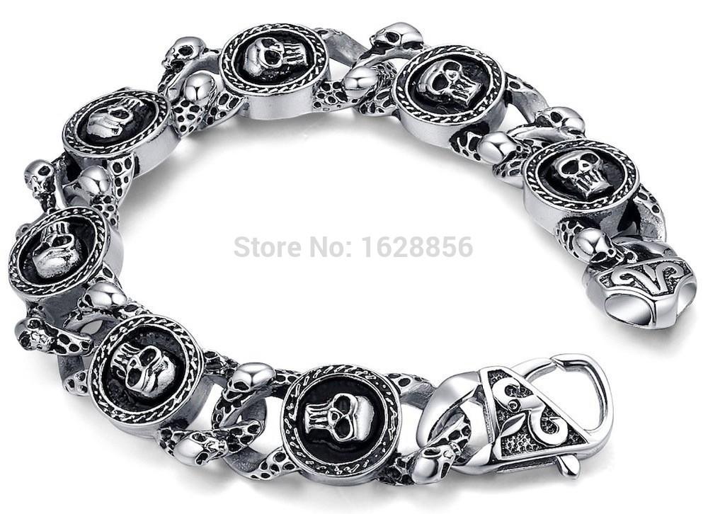 Explosion models Stainless Steel Men's Gothic Biker Heavy Skull Link Bracelet 8.5 new hip hop style design Bracelets(China (Mainland))