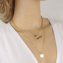 Brief Chain Necklace Fashion Gold Plated Fatima Hand 3 Layer Chain Bar Necklace Beads and Long