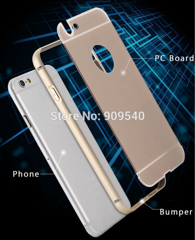 10pieces/lot DHL free shipping Promotion hot sale Aluminum bumper+PC backup housing cover cell phone case for iphone 6(China (Mainland))