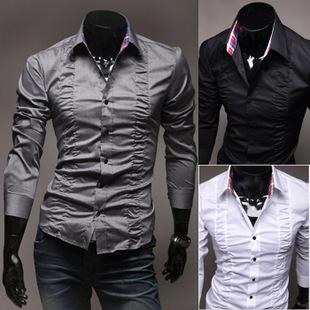2015 Promotion Camisas Full Satin Camisa Shirt Men Blusas New Exclusive Fashion Men's Court Chest Fold Design Long Sleeved 5914(China (Mainland))