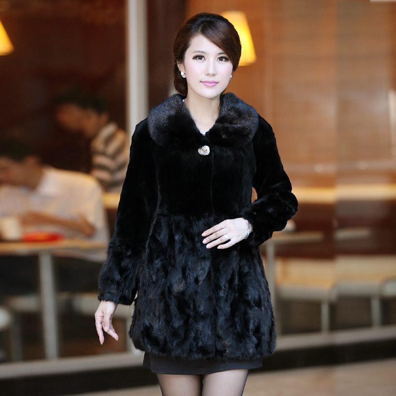 Winter Spliced Mink Fur Coat with Rex Rabbit Fur Patchwork Outwear Women Fashion Garment VK0349(China (Mainland))