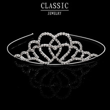 Crown Tiara Heart Elegant Rhinestone Crystal bridal hair Jewelry Wedding Bride Party