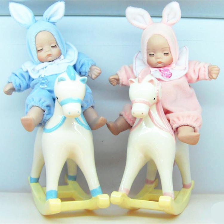 Junho coração direto cerâmica ter filhos imediatamente balançando a cabeça da boneca caixa de música presente de casamento do presente amigos MD-144(China (Mainland))