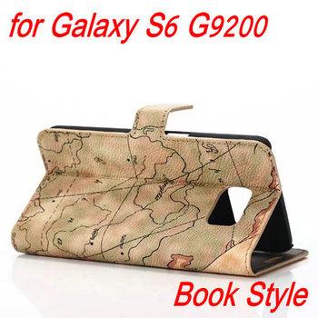 2015 новый ретро карта шаблон дизайна чехол с слот кредитные карты для Samsung Galaxy S6 G9200 роскошный кожаный чехол оптовая продажа