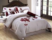 king Size homehug 7Pc Polyester Short Brushed Comforter Set Huge Flower Embroidered Pattern Color Khaki(China (Mainland))