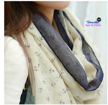 180*90cm 2015 New Fashion women winter & autumn scarves Anchor print voile scarf bufandas brand big size soft woman scarf shawl(China (Mainland))