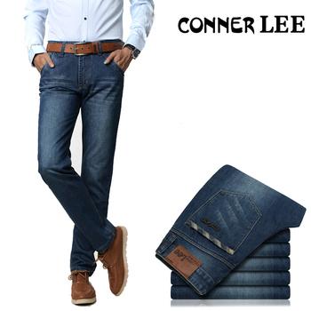 Коннер ли джинсы задний карман полоса высокое качество брюки джинсы мужской свободного ...