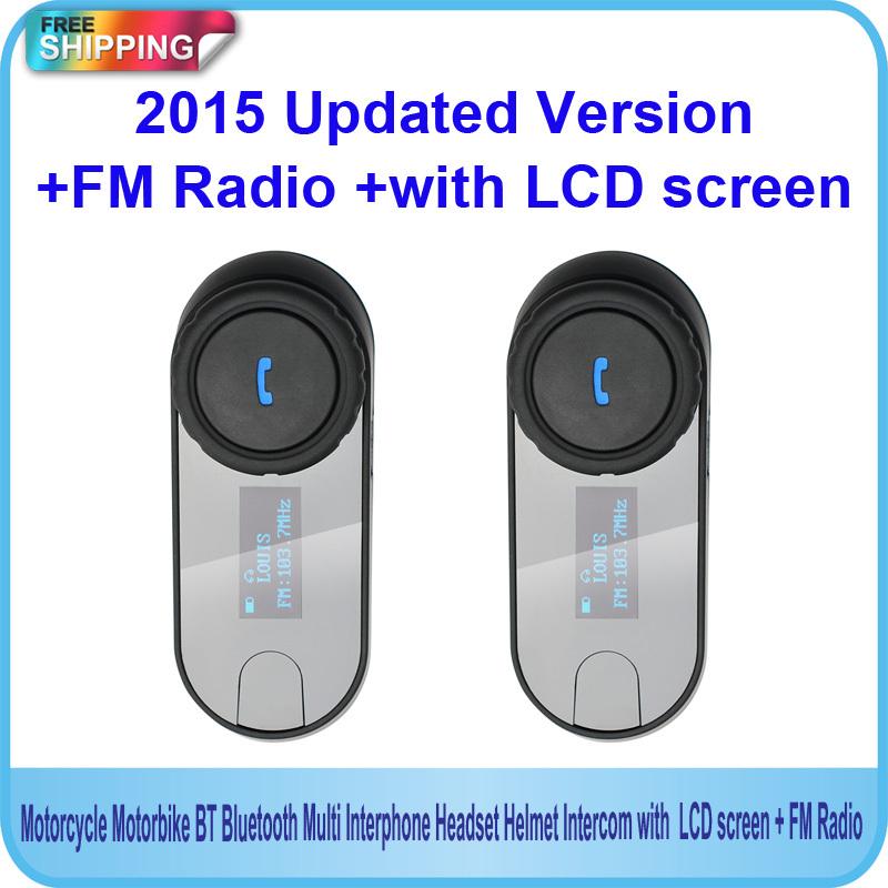 2015 New Updated Version!!2PCS (3280ft) BT Bluetooth Motorcycle Helmet Intercom Interphone Headset with LCD screen + FM Radio(China (Mainland))