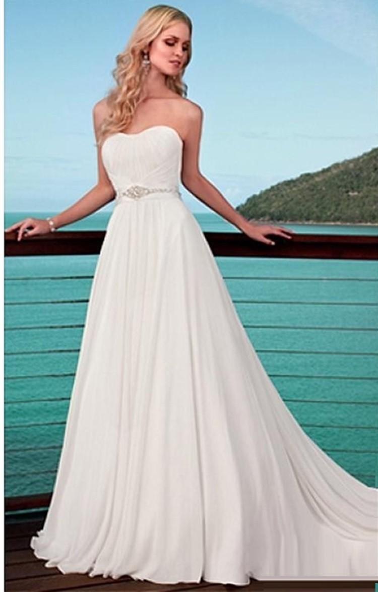 Buy Simple Sweetheart Wedding Belt White Chiffon Beach Weddi