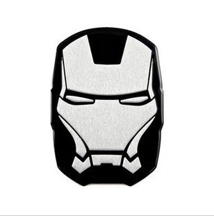 3d metal emblem Iron Man 6.5*4.5cm personalized car decoration supplies black or red car sticker car styling(China (Mainland))