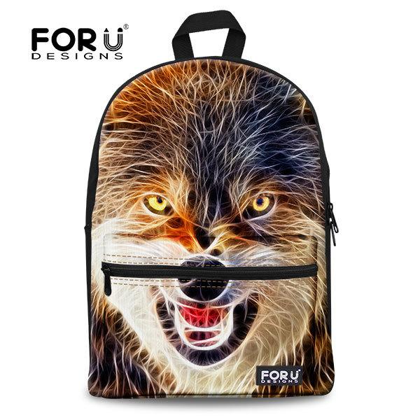 2015 Big Capacity Men's 3D Animal Backpack Black Wolf Face School Backpack Bag Boys Travel Backpacks College Student Bookbag(China (Mainland))