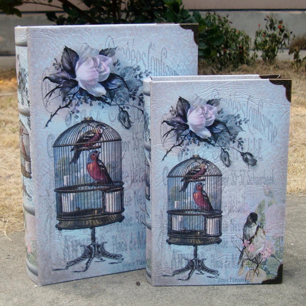 Vintage BirdCage Fake Book Storage Box Money Safe Book Storage case Home Decor Crafts(China (Mainland))