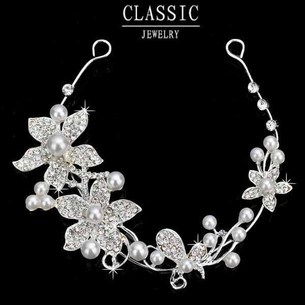 New Korea Bride Wedding Accessories Elegant Pearl Jewelry Charm Crystal Flower Headbands Head Jewelry for Women
